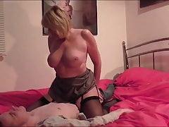 British Blonde Sucks and Fucks A young Cock