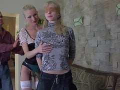 Sexy blonde fucks a young girl