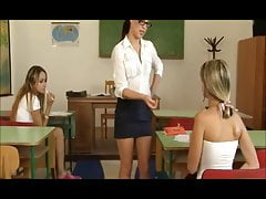 Hot young schoolgirls Gina and Leyla punished by teacher