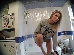 Cute Skinny Blonde Dressing in Bathroom on Spy Cam