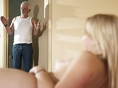 Hello grandpa, please fuck my pussy and let me swallow cum